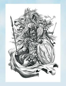 Real Looking Worrior Lion King Large 8 25 Amp Amp Quot Half Sleeve Arm Tattoo Ebay