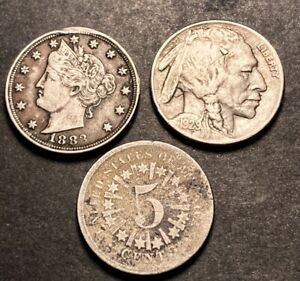 Us Coin Type Lot Shield Nickel With Rays V Nickel & Buffalo Nickel