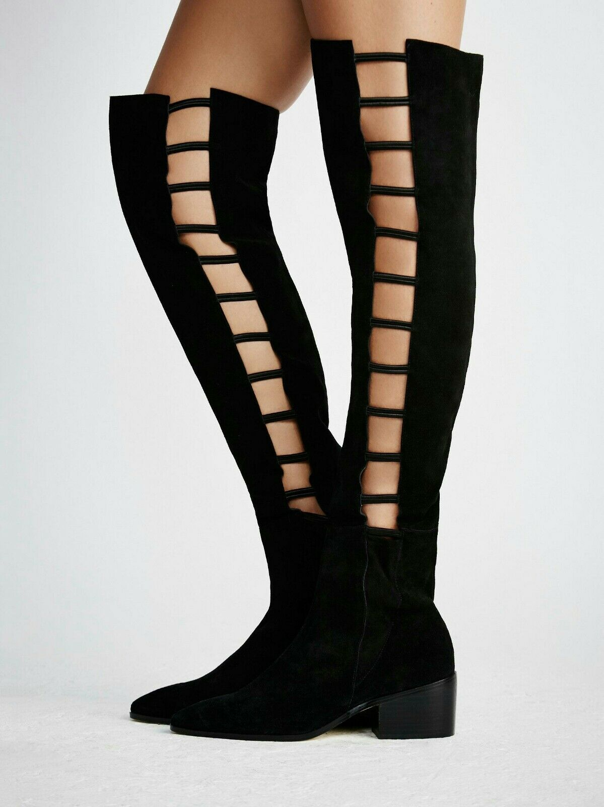 FREE PEOPLE Ladder Boot Over the Knee Cutout Black Suede by Farylrobin Sz 8 $248