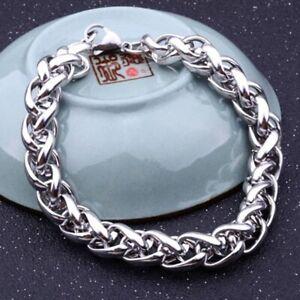 Herren-Silber-Punk-Edelstahl-Gliederkette-Armband-Manschette-Armreif-19-22cm