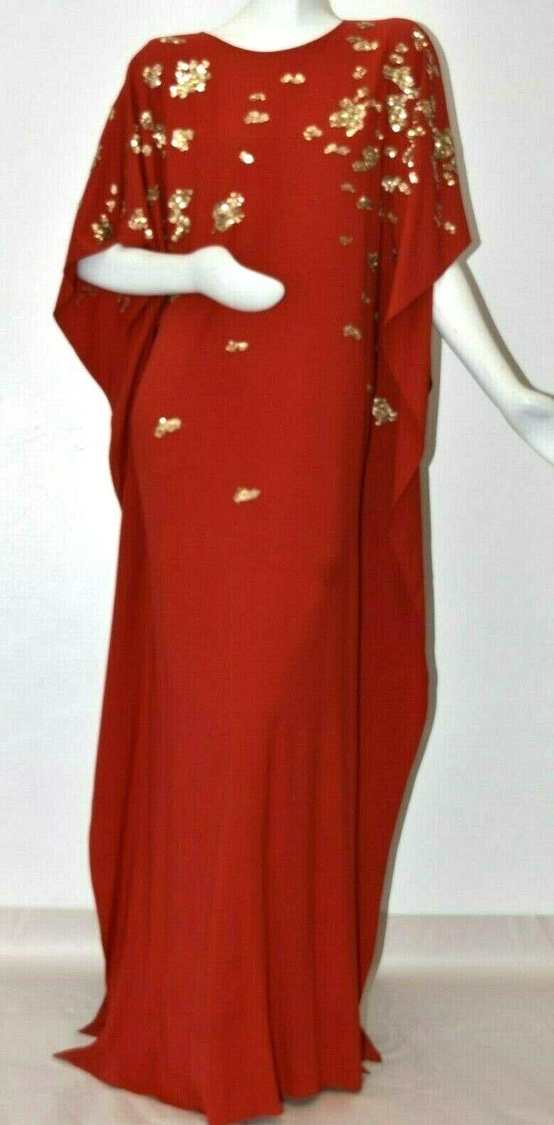 2990 New Oscar de la Renta Ferrari Red Silk Embroidered Caftan gold  S M L