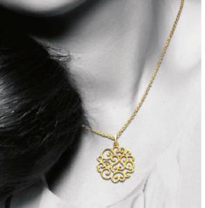 Pendentif Arabesques Plaqué Or 18 Carats 750//1000 Bijoux Collier Chaîne