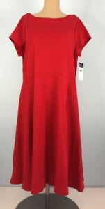 8a8943f7d37 CHAPS Sailor Bay Yacht Red Dress Size XL Short Sleeve Lace Up Back ...