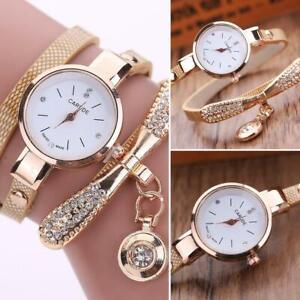 Luxus-Damen-Uhr-Quarzuhr-Armbanduhr-Watch-Uhren-Edelstahl-Strass-Analog-Beige
