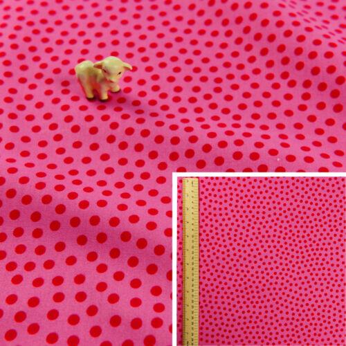 Pink FQ Fat QuarterCotton FabricCraft Sew QuiltSimple Polka Dots Spotty