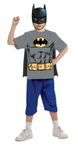Boys Child Batman Costume T Shirt Mask /& Removable Cape Outfit