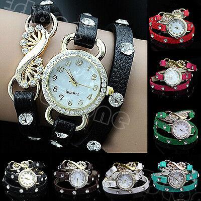 Gothic Women Lady Leather Bracelet Crystal Dial Layers Analog Quartz Wrist Watch
