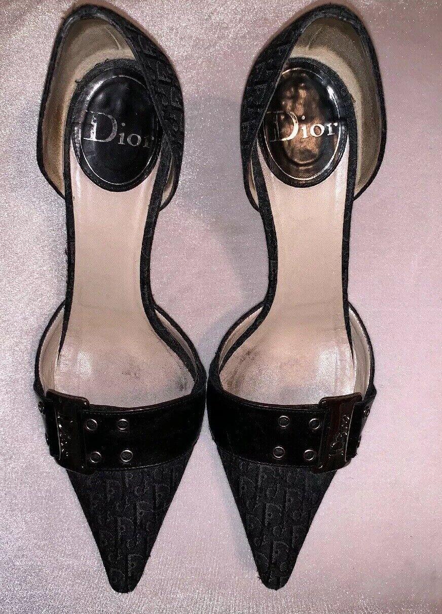CHRISTIAN DIOR 38.5 38.5 38.5 8.5 Black Gunmetal Metallic Signature Pointy Heels Pumps bd44d9