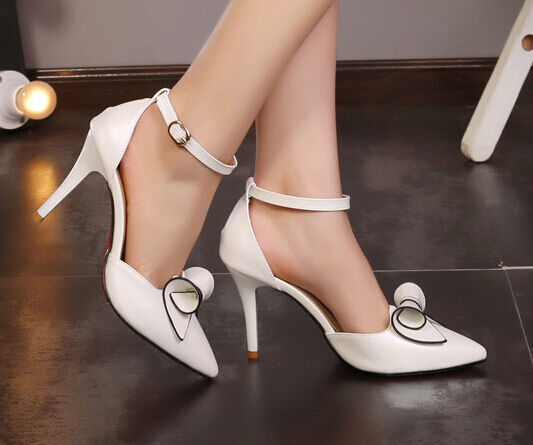 Stilett Schuhe Pumps elegant Frau Absatz Stift verfeinert 9 weiß schwarz verfeinert Stift 9321 284e95