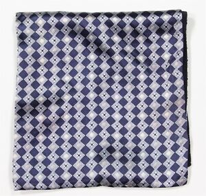 Zilli-Navy-Blue-Gray-Diamond-100-Silk-Hand-Rolled-Pocket-Square