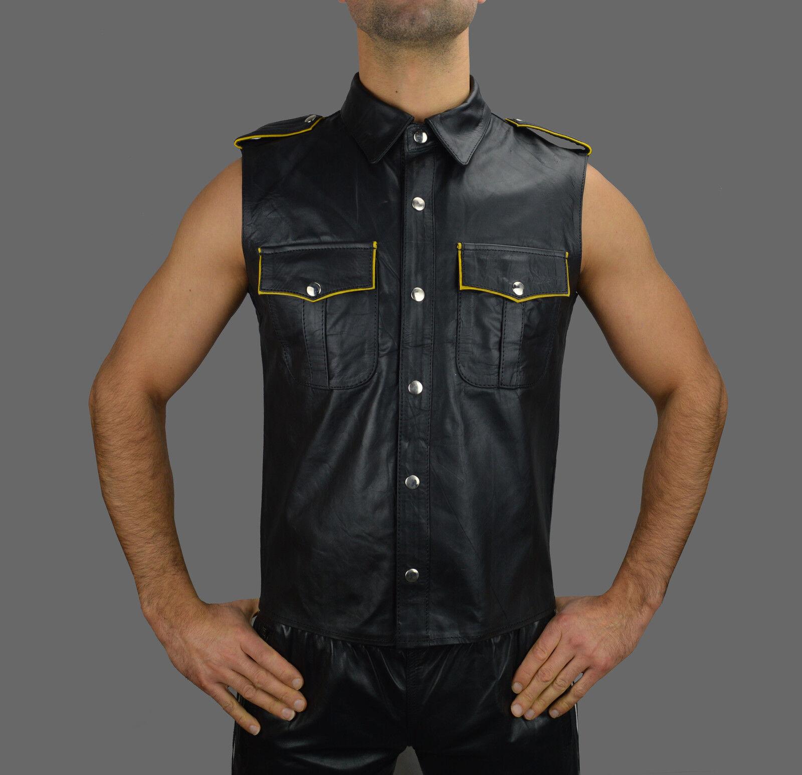 Lederhemd mit yellowen Biesen Leather shirt,Chemise Cuir,Napa Leder Hemd weste M