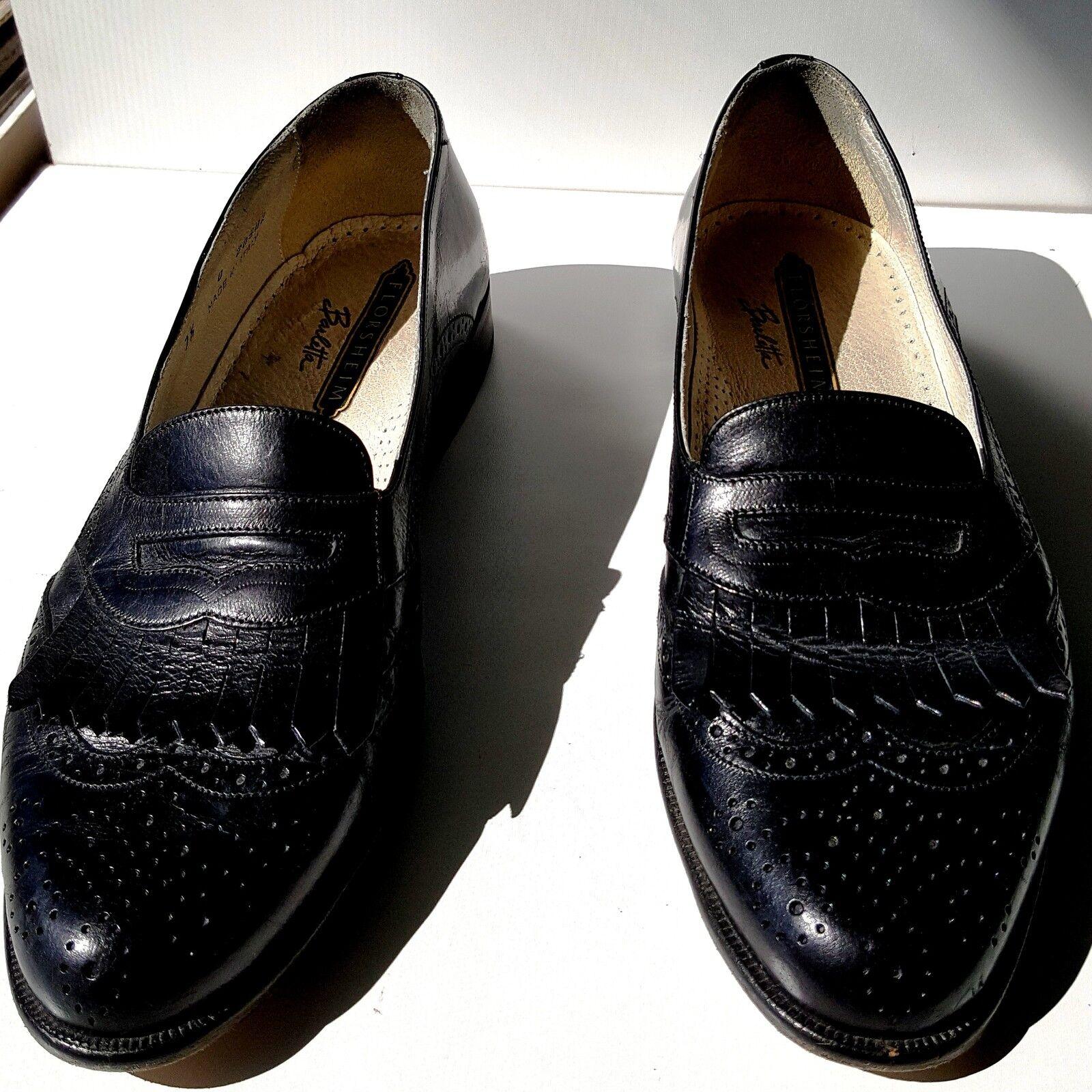Para Hombre Zapatos Mocasines Florsheim Barletta Talle 7.5 D Cuero Hecho En Italia Excelente