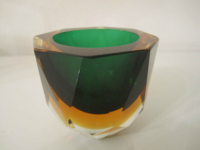 Alte Murano Glas Schale Flavio Poli für Seguso 1960er Jahre Grün Gelb