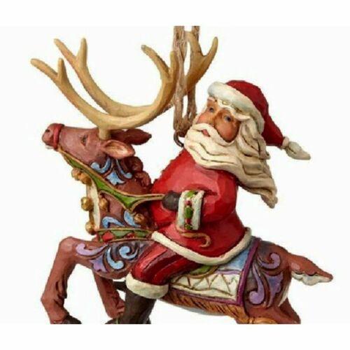 Orn Santa Riding Reindeer // auf Rentier Jim Shore Heartwood Creek *NEU /& OVP*