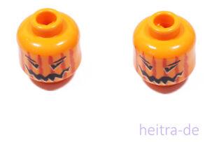 LEGO-2-x-Kopf-Kuerbis-orange-Kuerbiskopf-Halloween-3626bpb0388-NEUWARE