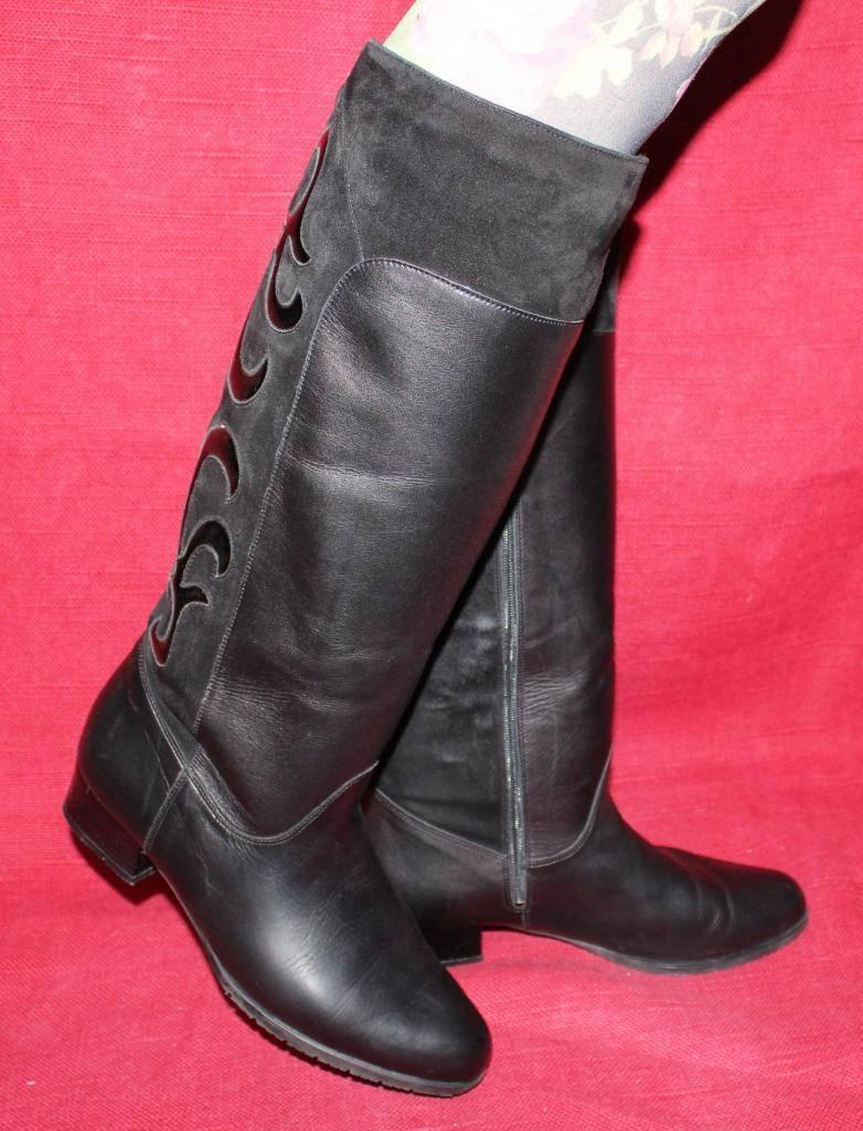 70er 80er Vintage echt LEDER STIEFEL Dorndorf 39 70s 80s Leather BOOTS Hippie