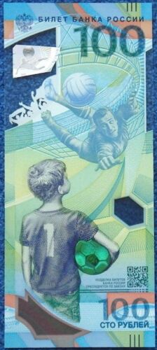 RUSSIA 100 RUBLES 2018 FIFA WORLD CUP POLYMER P NEW UNC