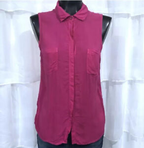 SMALL-SPLENDID-Pink-Sleeveless-Supima-Cotton-Blend-Blouse-Top