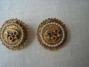 Image Is Loading Vintage Clip On Earrings 27 Peals Cer Around