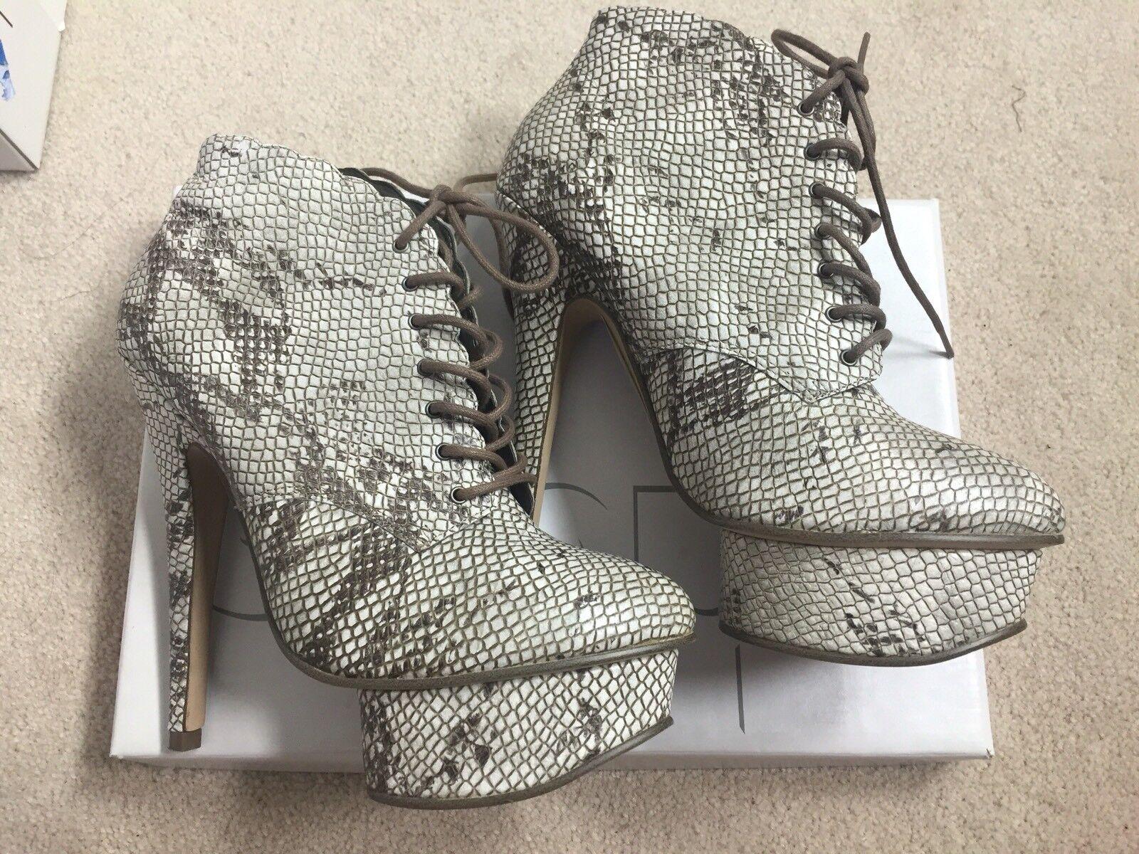 Brand New In Box Topshop Snakeskin High Heel Pump Platform Boots - Size 7.5 38