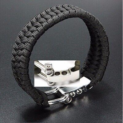 Survival Bracelet Para Outdoor Cord Black Rope Camping Steel Shackle Buckle AY