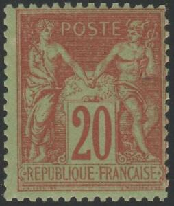 FRANCE-STAMP-TIMBRE-N-96-034-TYPE-SAGE-20c-BRIQUE-SUR-VERT-034-NEUF-xx-TTB
