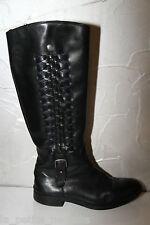 jolies bottes hiver cuir noir tressé TOMMY HILFIGER pointure 39 UK 6 SUPER ÉTAT