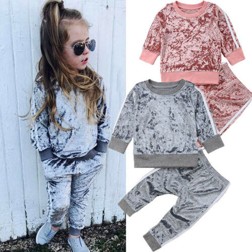 Pants Tracksuit Set 1-6Y UK 2PCS Kids Baby Girls Clothes Outfits T-shirt Tops