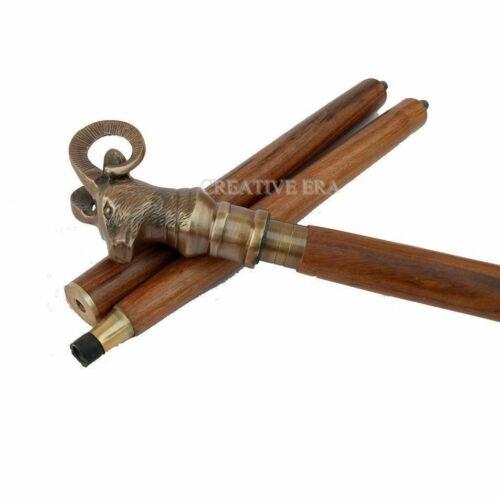 Vintage Antique Walking Cane Wooden Walking Stick Brass Handle goat Handle Stick