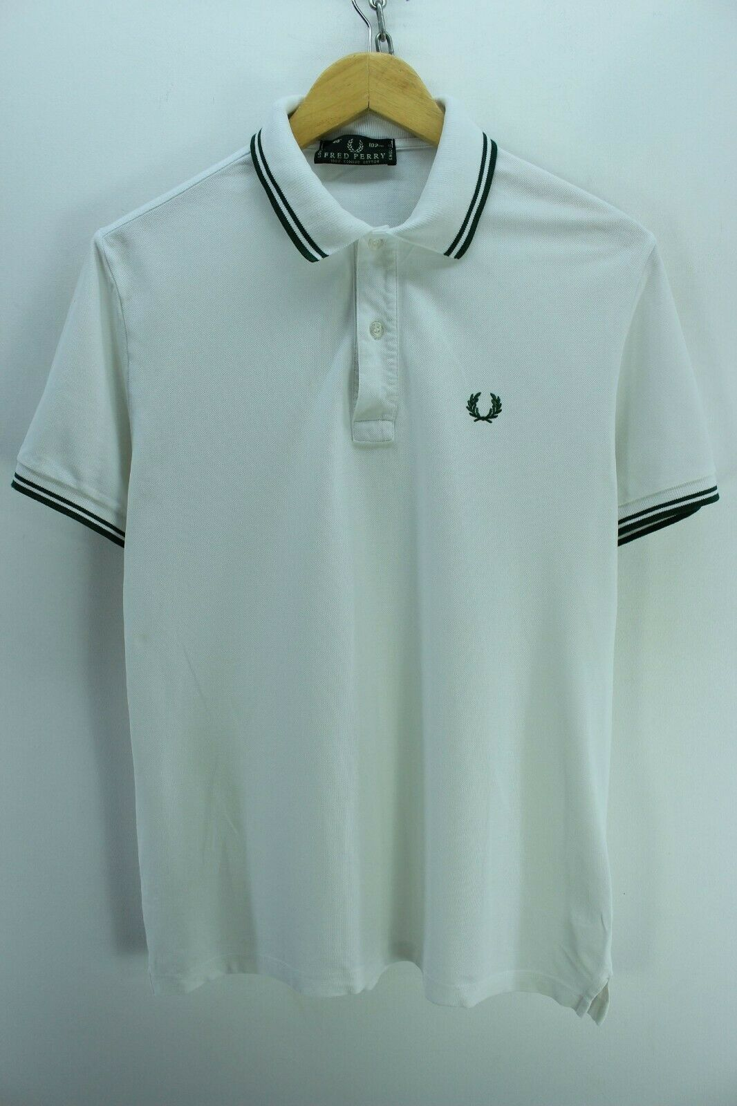 fred perry mens shirt size 40 s white short sleeve cotton casual