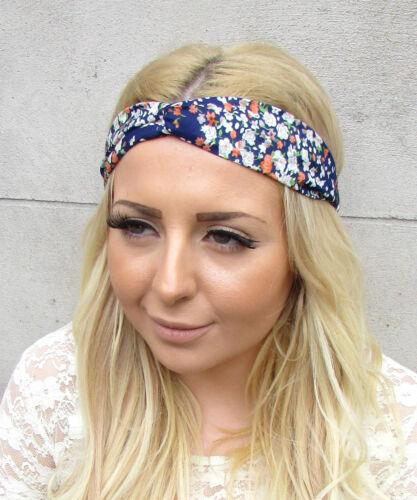 Navy blue garden imprimé fleuri twist turban headband boho festival cheveux bande 2323