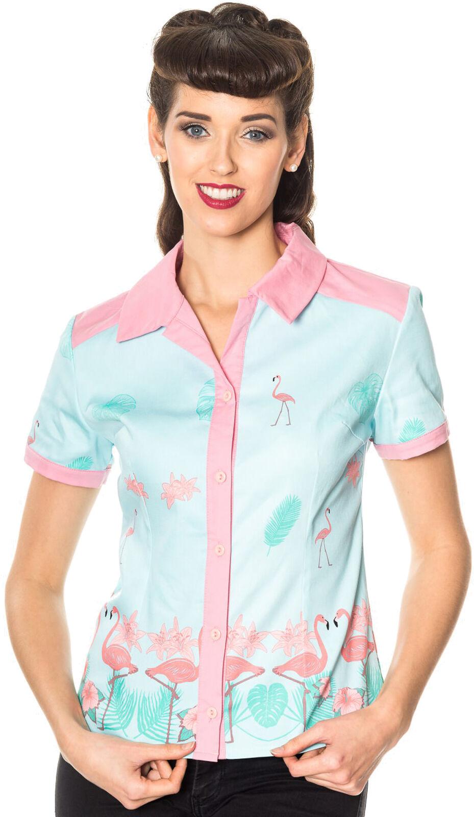 Dancing Days MY WAY Tropical FLAMINGO Vintage BlauSE Shirt Rockabilly