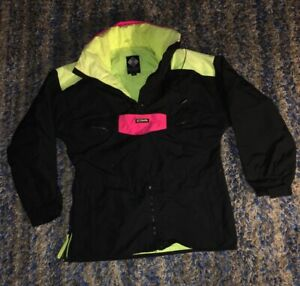 Columbia-Mens-Jacket-Radial-Sleeve-Pullover-Snowboard-Ski-Coat-Pink-Black-Vtg-p