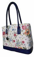 Echt Leder Handtasche Blütenzauber Elegance Blau - traumhaft schön