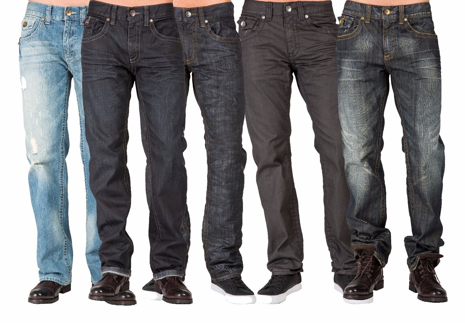 Level 7 men's Relaxed Straight Leg Premium denim Jeans Dark Vintage Hand Sanding