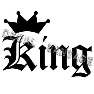 King-Text-Crown-Vinyl-Sticker-Decal-JDM-Race-Drift-Choose-Size-amp-Color