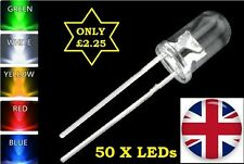 50X 5mm ULTRA BRIGHT LEDs DIODES - 10X RED/BLUE/GREEN/YELLOW/WHITE -WATER CLEAR