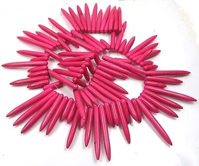 """20-45mm Pink Turquoise Graduated Spike Stick drop Beads 16"""""""