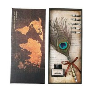 Retro-Peafowl-Feather-Dip-Pen-Writing-Ink-Set-Fountain-Pens-Stationery-Gift