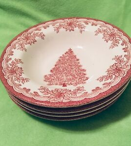 Set-of-4-Staffordshire-Engravings-Red-Yuletide-Rimmed-Soup-8-1-2-Bowls-NEW