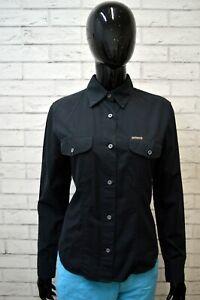 Camicia-Blu-Donna-CALVIN-KLEIN-Taglia-M-Maglia-Polo-Manica-Lunga-Shirt-Woman