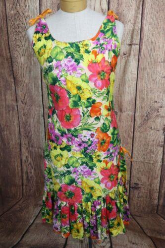 Vtg 60s Waltah Clarke Floral Hawaiian Dress Womens