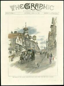 1886-Antique-Print-SURREY-Guildford-High-Street-Coach-amp-Horses-HC2-10