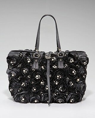 Authentic Brand New Valentino Pearl Rosier Tote Handbag Purse In Black $2845 HOT