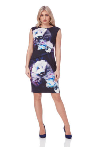 Roman Originals Women/'s Purple Floral Print Jersey Dress Sizes 10-20