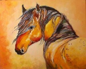 034-Horse-in-sunset-034-original-oil-palette-knife-painting-20x16-034