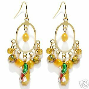 CLOISONNE-YELLOW-BEADED-PEARL-GOLDTONE-DANGLE-EARRINGS