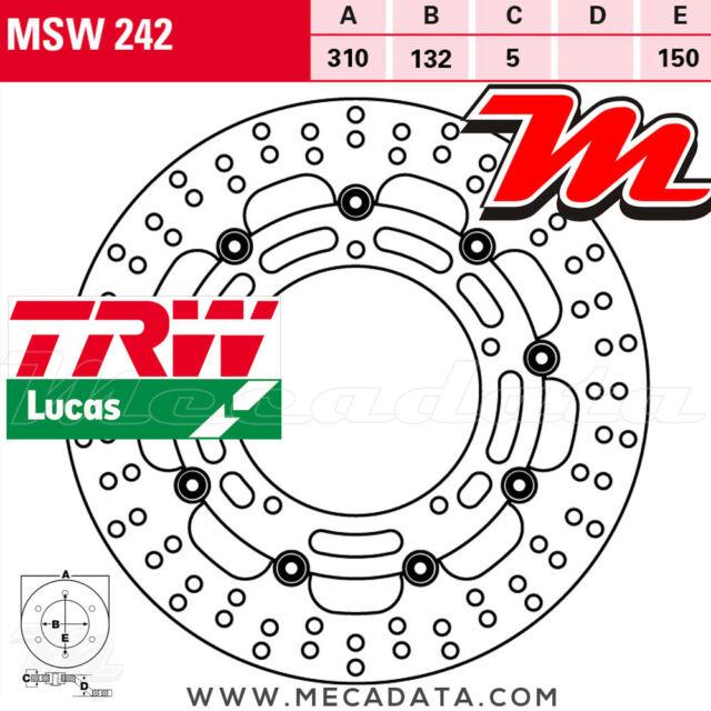 Disque de frein Avant TRW Lucas MSW 242 Yamaha FZ8 800 NA ABS (RN25) 2010+