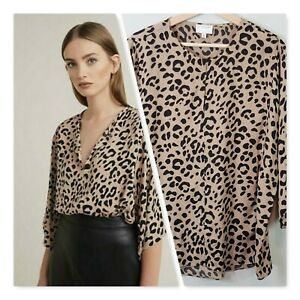 WITCHERY-Womens-Animal-Print-Blouse-Top-Size-AU-12-or-US-8