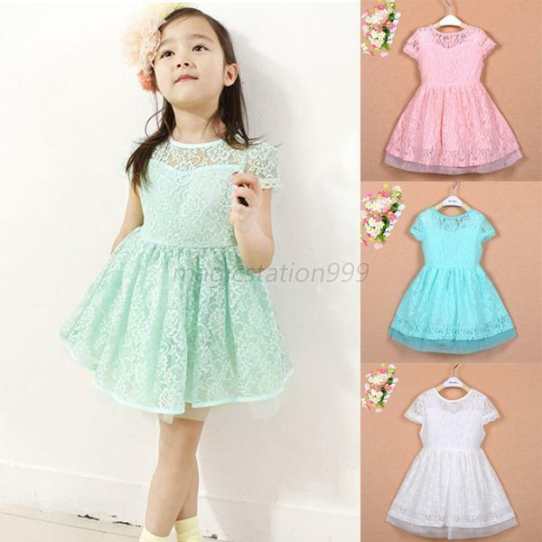 KIDS BABY GIRL PRINCESS DRESSES PARTY TUTU /BIRTHDAY/FLOWER GIRL LACE SKIRT 2-7Y